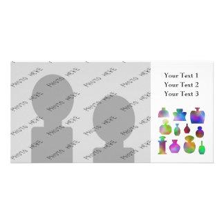 Botellas de perfume coloridas tarjetas fotograficas personalizadas