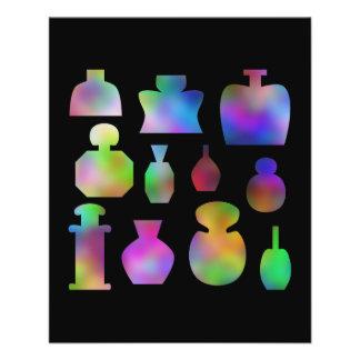 "Botellas de perfume multicoloras folleto 4.5"" x 5.6"""