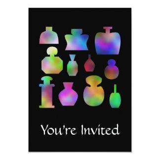 """Botellas de perfume multicoloras invitación 5"""" x 7"""""""