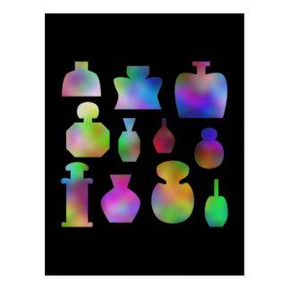 Botellas de perfume multicoloras postal