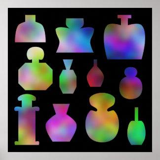 Botellas de perfume multicoloras póster