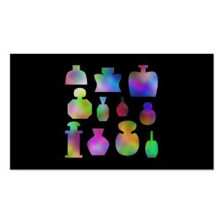 Botellas de perfume multicoloras tarjetas de visita