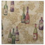Botellas de servilletas de tabla del vino