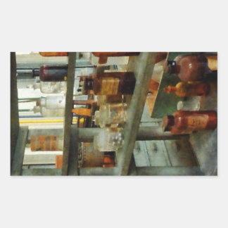 Botellas de sustancias químicas altas y cortas pegatina rectangular