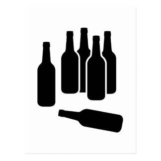 Botellas de vino de la cerveza tarjeta postal