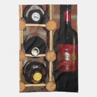 Botellas de vino toalla
