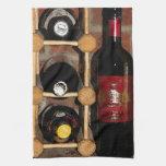 Botellas de vino toallas