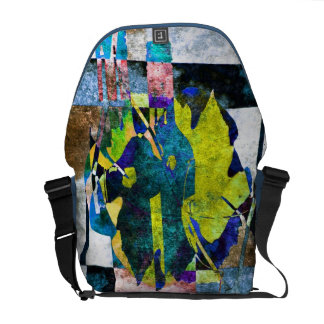 Botellas de vino y bolso abstractos modernistas de bolsas de mensajería