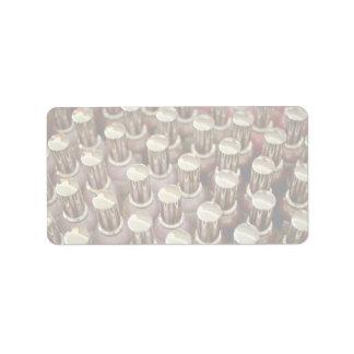 Botellas del esmalte de uñas etiqueta de dirección