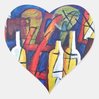 Botellas del estudio pegatina en forma de corazón