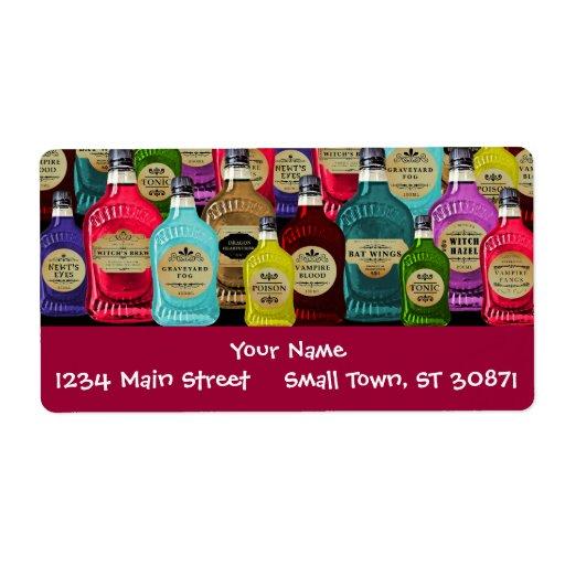 Botellas del tónico del boticario del doctor de br etiqueta de envío