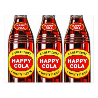 Botellas felices de la cola del vintage de la soda postal