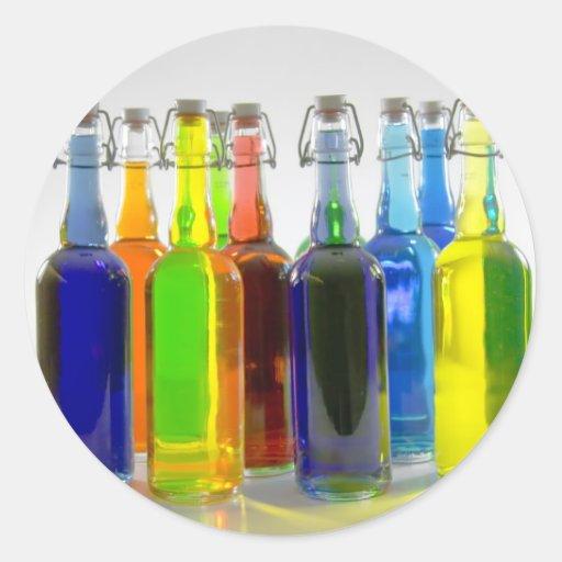 Botellas III Pegatina Redonda