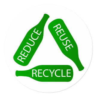 """Botellas que forman el icono del reciclaje invitación 5.25"""" x 5.25"""""""