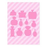 Botellas rosadas del olor tarjetas postales