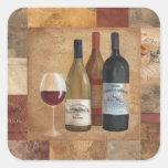 Botellas y copa de vino de vino del vintage calcomanías cuadradases