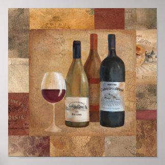 Botellas y copa de vino de vino del vintage póster
