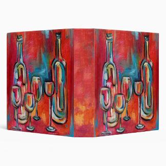 """Botellas y vidrios de vino que emparejan notas de carpeta 1 1/2"""""""
