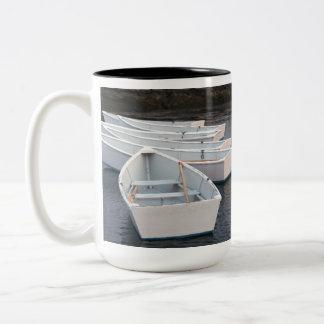 Botes de remos taza de café de dos colores
