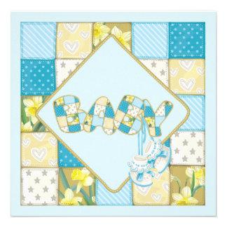 Botines del bebé azul y fiesta de bienvenida al be comunicados personalizados