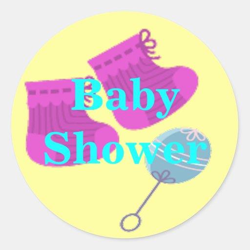 Botines y fiesta de bienvenida al bebé del traquet etiquetas redondas