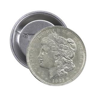 Botón 1921 del dólar de plata de Morgan Pin Redondo De 2 Pulgadas