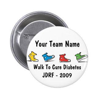 Botón 2009 del equipo del paseo de JDRF Pin Redondo De 2 Pulgadas