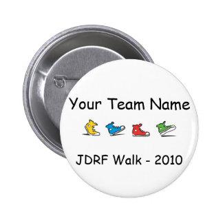 Botón 2010 del equipo del paseo de JDRF Pin Redondo De 2 Pulgadas