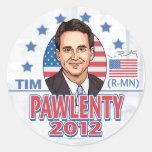 Botón 2012 de camisa de Tim Pawlenty Etiqueta Redonda