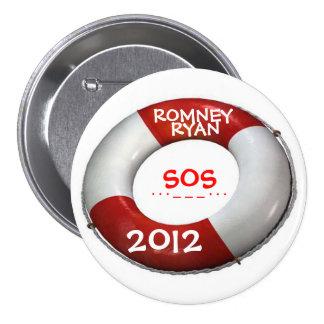 Botón 2012 de la salvación de Romney Ryan SOS Pin Redondo De 3 Pulgadas