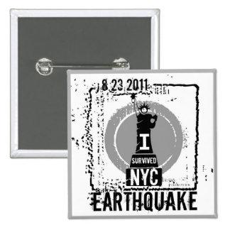 Botón 2 del terremoto NYC 2011 Pin Cuadrado