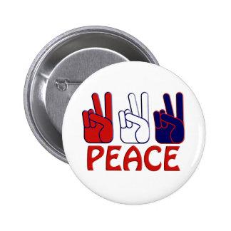 Botón 4 de julio blanco y azul rojo de la paz pin redondo de 2 pulgadas
