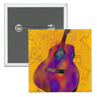 Botón abstracto de la guitarra pin cuadrado