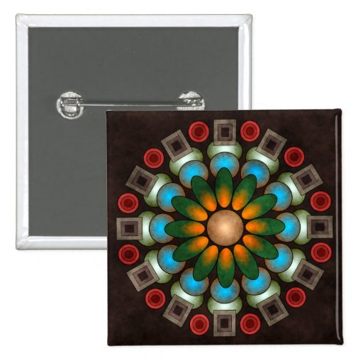 Botón abstracto floral lindo del arte del vector ( pins