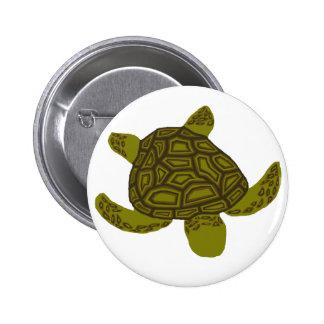Botón acodado de la tortuga de mar de Honu Pin Redondo De 2 Pulgadas