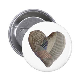 Botón acolchado del corazón pin redondo de 2 pulgadas