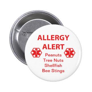 Botón adaptable de la alarma de la alergia pin redondo de 2 pulgadas