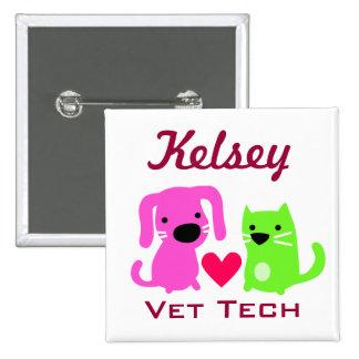 Botón adaptable de la tecnología del veterinario pin cuadrado