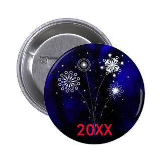 Botón adaptable del Año Nuevo en vitral Pin Redondo De 2 Pulgadas