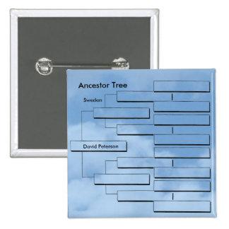 Botón adaptable del árbol del antepasado pin cuadrado