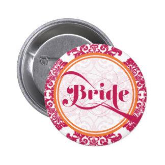 Botón afiligranado de la novia del vintage moderno pin redondo de 2 pulgadas