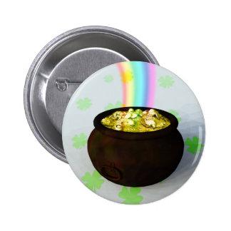 Botón afortunado de la mina de oro pin redondo de 2 pulgadas