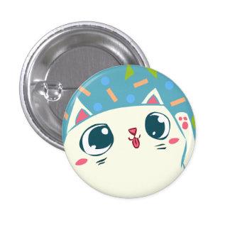 Botón afortunado del gato que agita pin redondo de 1 pulgada