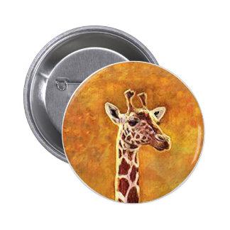 Botón africano de la jirafa de la fauna pin redondo de 2 pulgadas
