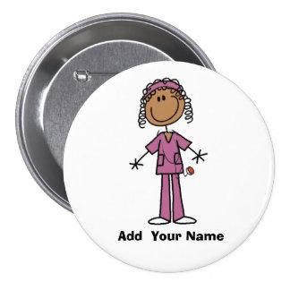 Botón afroamericano personalizado de la enfermera pin redondo de 3 pulgadas