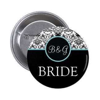 Botón-Aguamarina barroca de la novia de la eleganc Pin Redondo De 2 Pulgadas