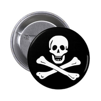 Botón alegre de la bandera de pirata de Rogelio