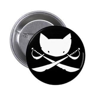 Botón alegre del pirata del gatito pin redondo de 2 pulgadas