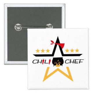Botón All-star del cocinero del chile Pin Cuadrado