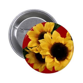 Botón amarillo de Borgoña de los girasoles Pin